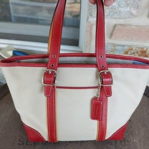 Coach Hamptons canvas and leather small tote purse